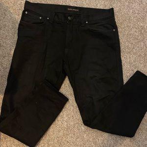 $200 Men Nudie Jeans Black 38 X 34 Organic Cotton